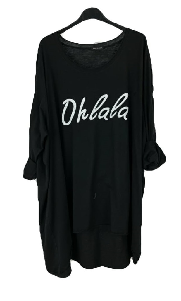 M - 3014A Camiseta largas Ohlala ( Negra, tejana ) ( Tallas Recomendadas 46 a 62 )