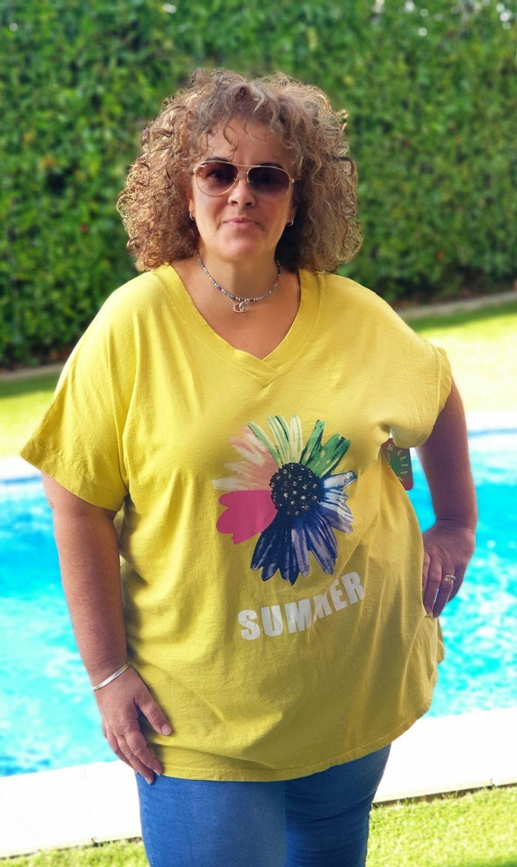 M -3305 Camisetas Flor Amarilla   ( Tallas Recomendadas 46 a 56)